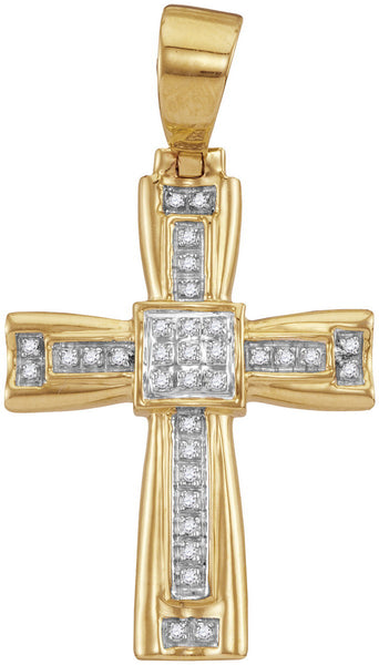 10kt Yellow Gold Mens Round Diamond Cross Faith Charm Pendant 1/10 Cttw