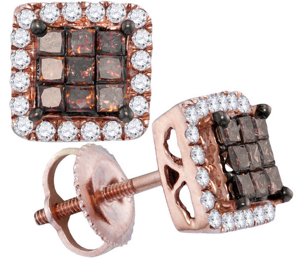 10kt Rose Gold Womens Princess Red Colored Diamond Square Cluster Earrings 3/4 Cttw