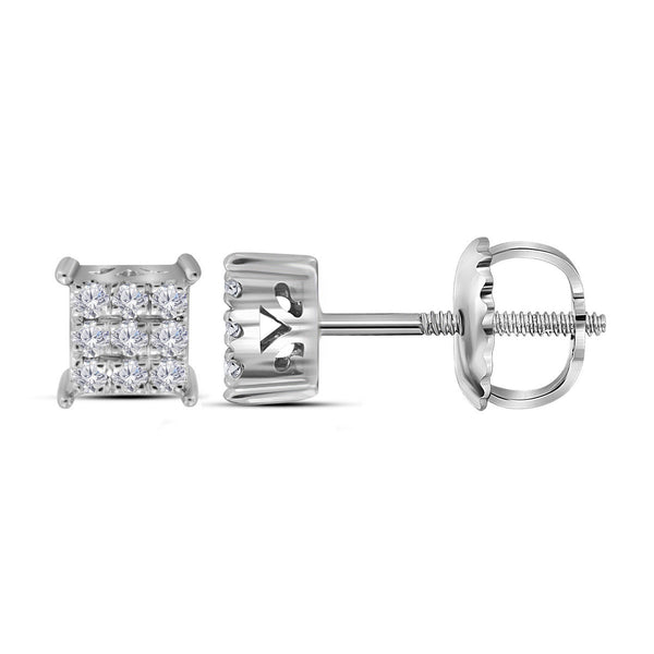 10kt White Gold Womens Round Diamond Square Cluster Screwback Earrings 1/6 Cttw