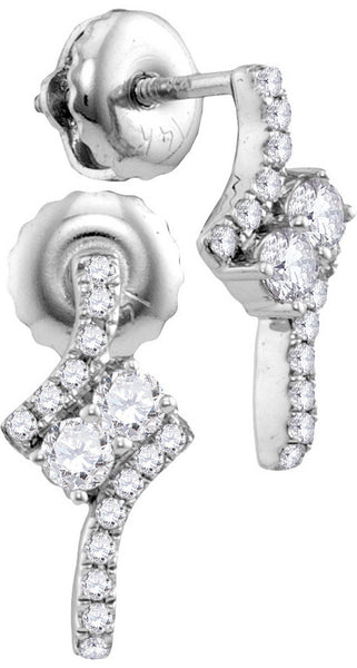 14kt White Gold Womens Round Diamond 2-stone Earrings 1/4 Cttw