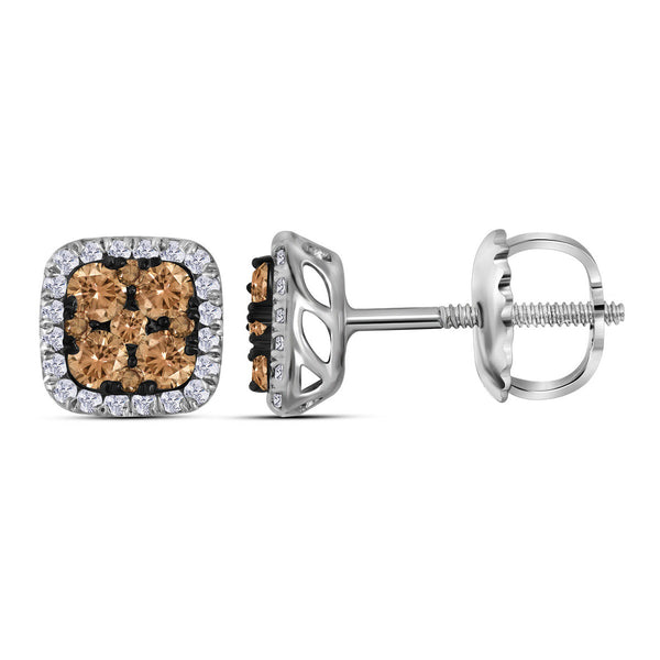 14kt White Gold Womens Round Cognac-brown Colored Diamond Square Cluster Earrings 1/2 Cttw