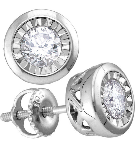 10kt White Gold Womens Round Diamond Illusion Stud Earrings 1/4 Cttw