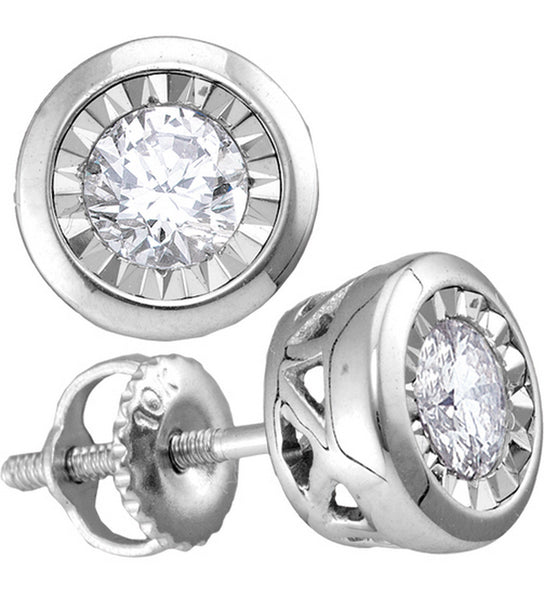 10kt White Gold Womens Round Diamond Illusion Stud Earrings 1/10 Cttw