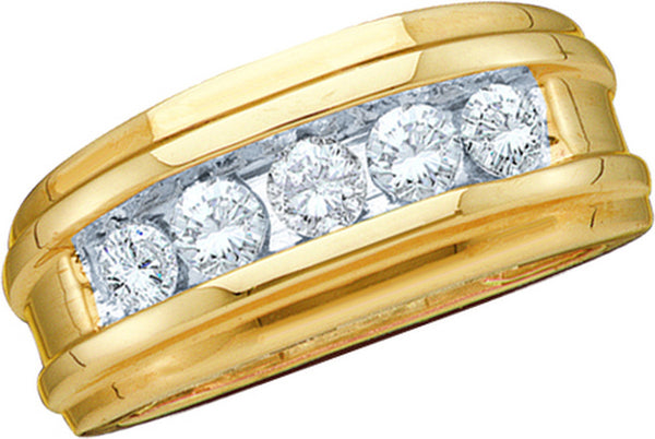 14kt Yellow Gold Mens Round Channel-set Diamond Wedding Anniversary Band 1/4 Cttw