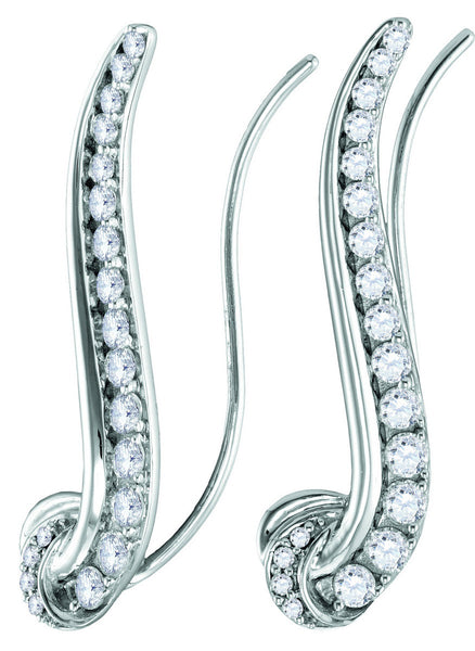 14kt White Gold Womens Round Diamond Curved Climber Earrings 3/4 Cttw