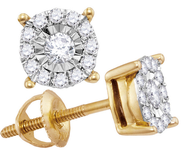 10kt Yellow Gold Womens Round Diamond Solitaire Cluster Stud Earrings 1/4 Cttw