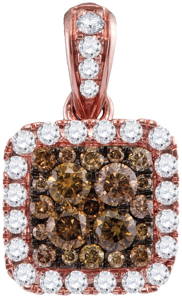14kt Rose Gold Womens Round Cognac-brown Colored Diamond Square Pendant 1.00 Cttw