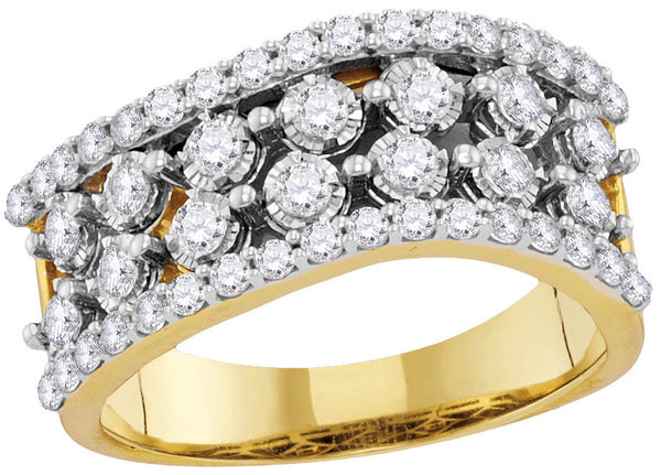 14kt Yellow Gold Womens Round Diamond Contoured Four Row Band Ring 7/8 Cttw