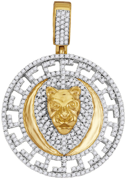 10kt Yellow Gold Mens Round Diamond Lion Head Medallion Charm Pendant 7/8 Cttw