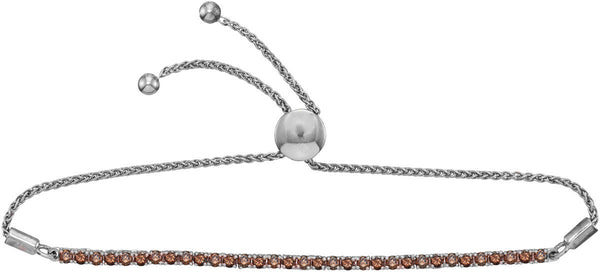 10kt White Gold Womens Round Red Colored Diamond Bolo Bracelet 2.00 Cttw