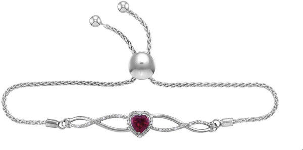 Sterling Silver Womens Round Lab-Created Ruby Diamond Bolo Bracelet 1/2 Cttw