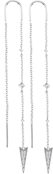 10kt White Gold Womens Round Diamond Pointed Triangle Dangle Threader Earrings 1/10 Cttw