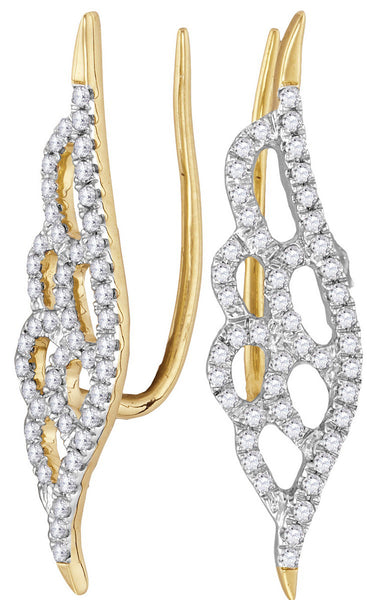 10kt Yellow Gold Womens Round Diamond Winged Climber Earrings 1/3 Cttw