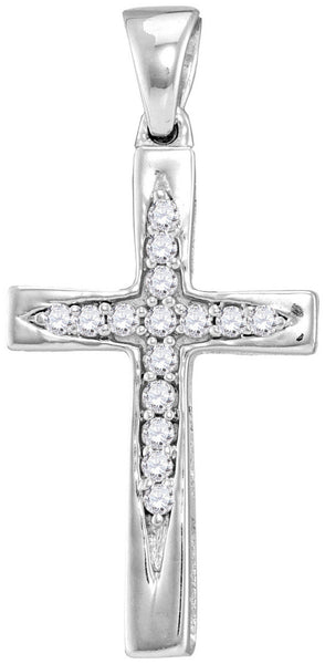 10kt White Gold Womens Round Diamond Christian Cross Pendant 1/10 Cttw