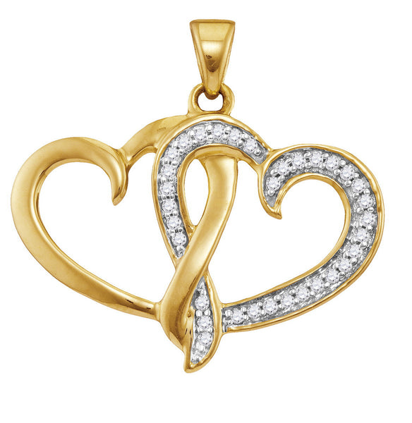 10kt Yellow Gold Womens Round Diamond Double Joined Heart Pendant 1/10 Cttw