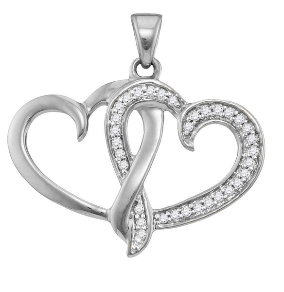 10kt White Gold Womens Round Diamond Double Joined Heart Pendant 1/10 Cttw