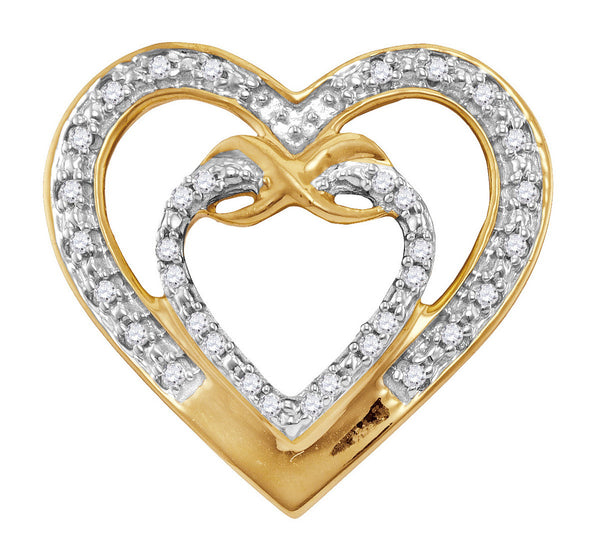 10kt Yellow Gold Womens Round Diamond Nested Double Heart Pendant 1/10 Cttw