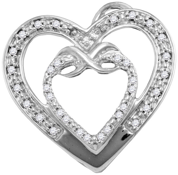 10kt White Gold Womens Round Diamond Nested Double Heart Love Pendant 1/10 Cttw