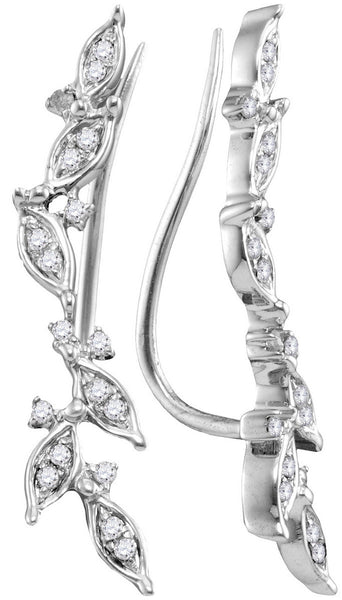 10kt White Gold Womens Round Diamond Floral Climber Earrings 1/5 Cttw