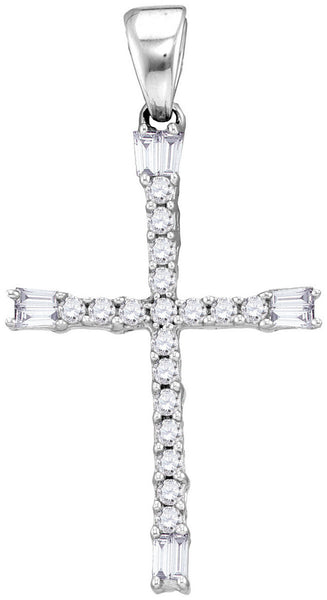 10kt White Gold Womens Round Diamond Cross Faith Pendant 1/5 Cttw
