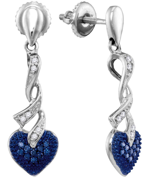 Sterling Silver Womens Round Blue Colored Diamond Heart Love Screwback Dangle Earrings 1/5 Cttw