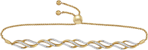10kt Yellow Gold Womens Round Diamond Bolo Bracelet 1/3 Cttw
