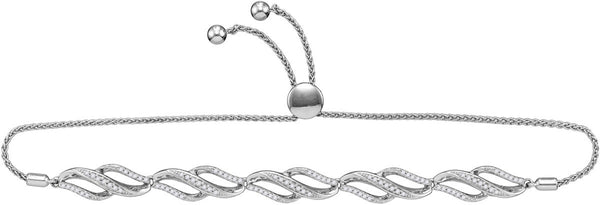 10kt White Gold Womens Round Diamond Bolo Bracelet 1/3 Cttw