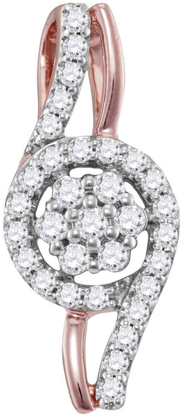 10kt Rose Gold Womens Round Diamond Flower Cluster Pendant 1/3 Cttw