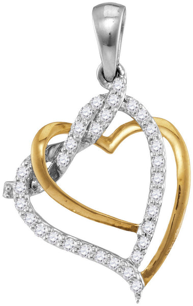 10kt Two-tone White Gold Womens Round Diamond Heart Love Pendant 1/5 Cttw