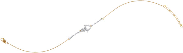10kt Yellow Gold Womens Round Diamond Hamsa Hand Chain Bracelet 1/5 Cttw