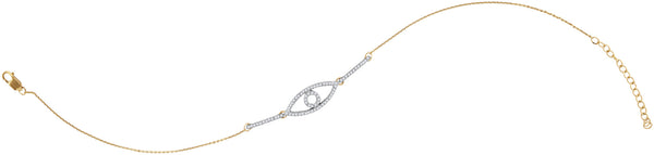 10kt Yellow Gold Womens Round Diamond Eye Chain Bracelet 1/5 Cttw