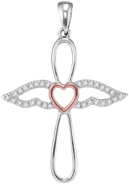 Sterling Silver Rose-tone Womens Round Diamond Angel Cross Pendant 1/8 Cttw