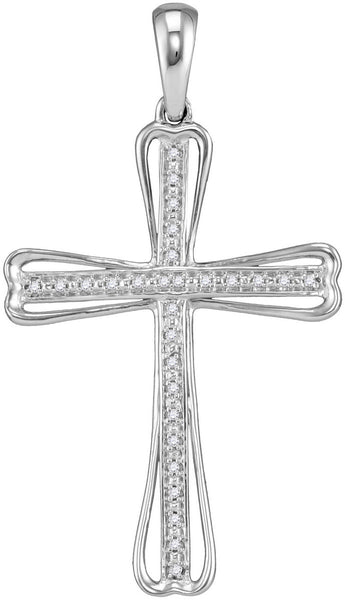 Sterling Silver Womens Round Diamond Christian Cross Pendant 1/10 Cttw