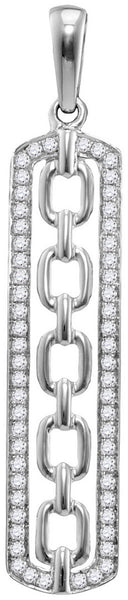 10kt White Gold Womens Round Diamond Vertical Framed Chain Link Pendant 1/4 Cttw