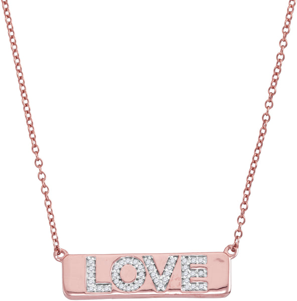 "10kt Rose Gold Womens Round Diamond Pink Love Bar Pendant Necklace with 18"" Chain 1/8 Cttw"