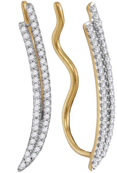 10kt Yellow Gold Womens Round Diamond Double Two Row Climber Earrings 1/4 Cttw