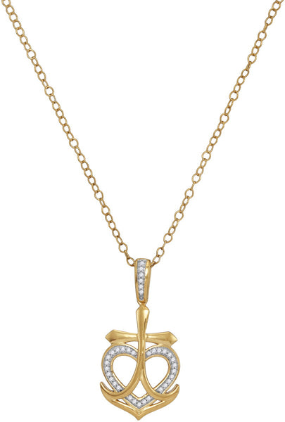 10kt Yellow Gold Womens Round Diamond Heart Cross Anchor Pendant Necklace 1/10 Cttw
