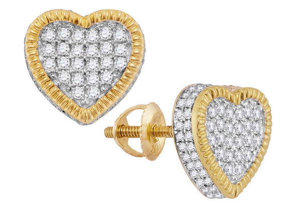 10kt Yellow Gold Womens Round Diamond Heart Rope Frame Cluster Earrings 7/8 Cttw