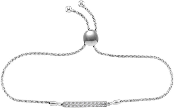 Sterling Silver Womens Round Diamond-accented Bar Bolo Adjustable Bracelet 1/10 Cttw