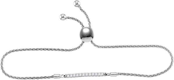 Sterling Silver Womens Round Diamond Single Row Bolo Adjustable Bracelet 1/4 Cttw