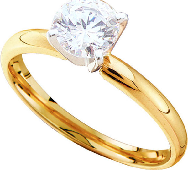 14kt Yellow Gold Womens Round Diamond I1 JK Solitaire Bridal Wedding Engagement Ring 1.00 Cttw