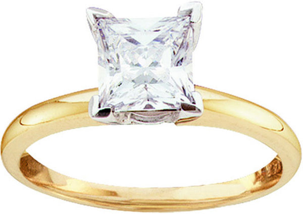 14kt Yellow Gold Womens Princess Diamond Solitaire Bridal Wedding Engagement Ring 3/4 Cttw