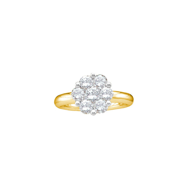 14kt Yellow Gold Womens Round Diamond Flower Cluster Ring 1.00 Cttw