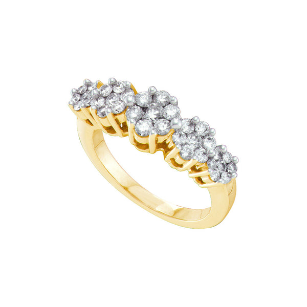 14kt Yellow Gold Womens Round Diamond Cluster Ring 1/2 Cttw