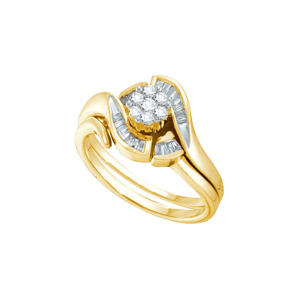 14k Yellow Gold Round Diamond Cluster Womens Bridal Wedding Engagement Ring Wedding Band Set 1/3 Cttw