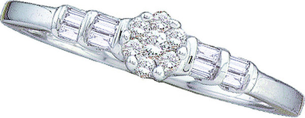 14kt White Gold Womens Round Diamond Cluster Bridal Wedding Engagement Ring 1/6 Cttw