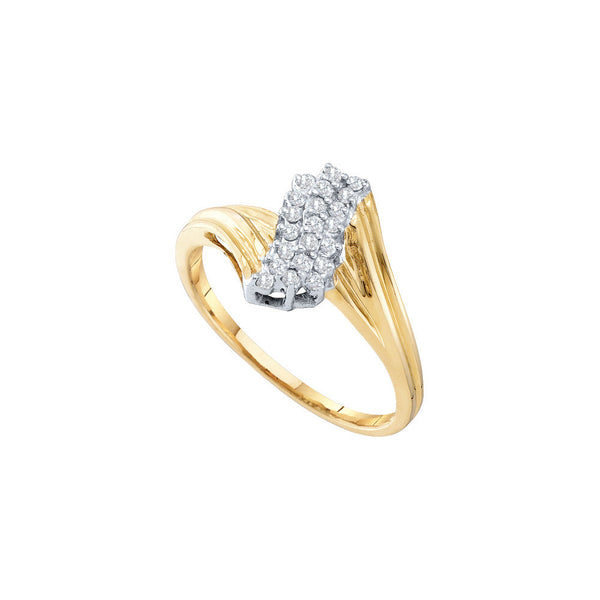 10kt Yellow Gold Womens Round Prong-set Diamond Contoured Cluster Ring 1/6 Cttw