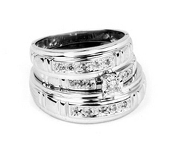 10kt White Gold His & Hers Round Diamond Solitaire Matching Bridal Wedding Ring Band Set 1/6 Cttw