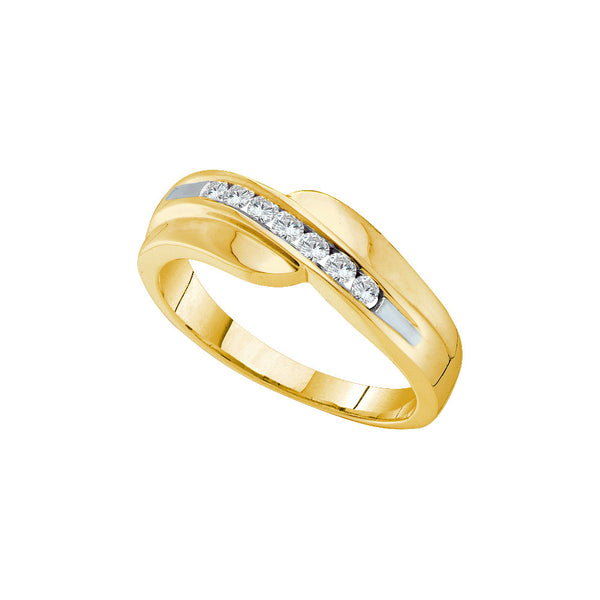 14kt Yellow Gold Mens Round Diamond Curved Wedding Anniversary Band 1/4 Cttw