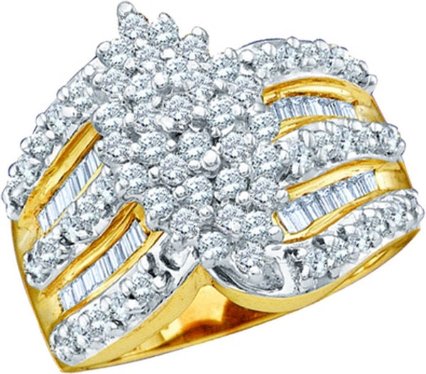 10kt Yellow Gold Womens Round Diamond Oval-shape Cluster Ring 1.00 Cttw